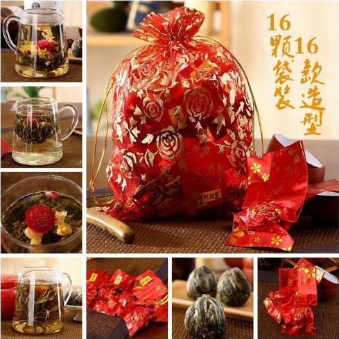 16 Pieces 16 Kinds Chinese Blooming Flower Tea Green Tea Ball Artistic Blossom Flowers Tea China Blooming Tea Green Organic 2
