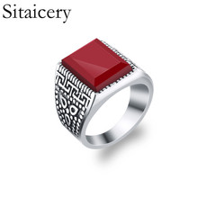 Sitaicery Retro Square Enamel Black Rings For Men 2019 New Arrival Fashion High Quality Jewelry Party Gift Punk Mens Ring