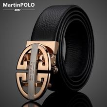 MartinPOLO Genuine Leather Men's Belt Automatic Metal Buckle