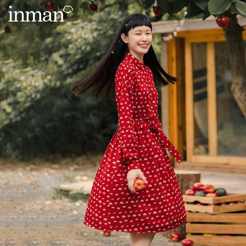 INMAN 2020 Autumn Winter New Arrival Artsy Women Cotton Print Long Sleeve Fit Waist Belt Lady Dress