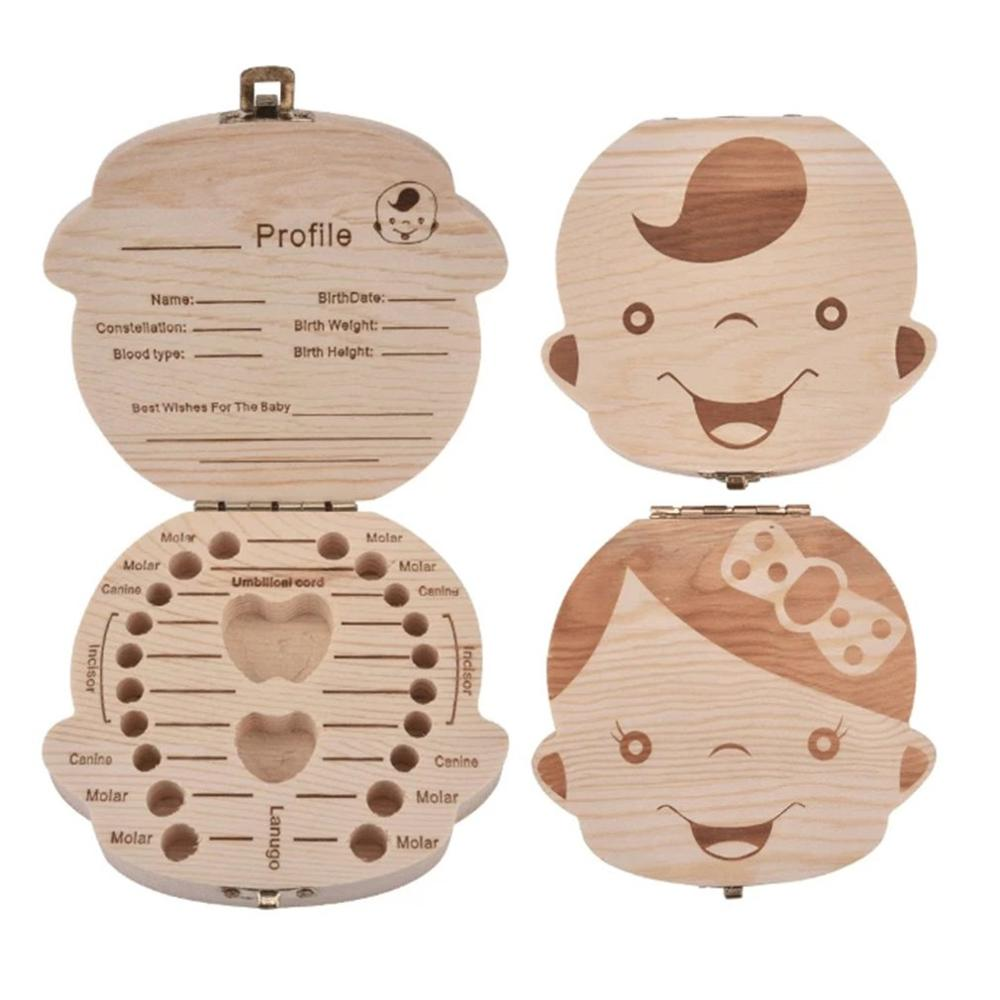 Wooden Baby Deciduous Teeth Storage Box Umbilical Cord Collection Box Creative Wooden Keepsakes Save Gift Solid Wood Storage Box