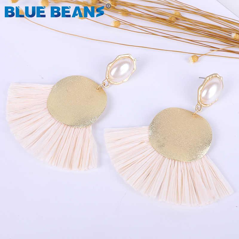 2019 hot Boho Tassel Oorbellen Voor Vrouwen Drop Dangle Earring Mode Grote geometrische Raffia Fringe parel Sieraden gift groothandel