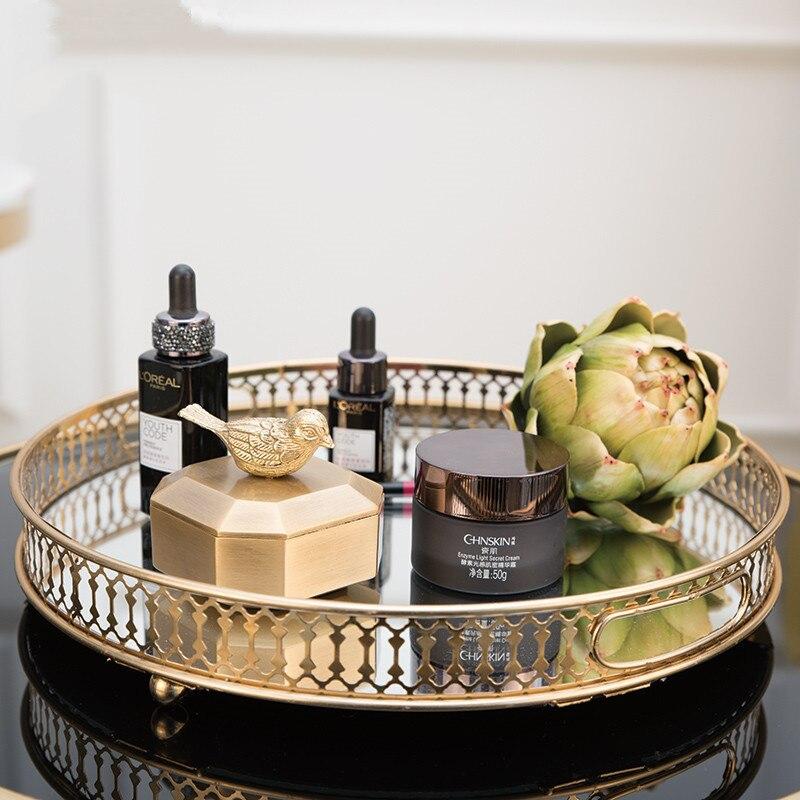 Plateau rond de rangement pour desserts ménagers | Plateau de rangement nordique moderne creux, stockage de cosmétiques, Table basse en verre miroir plateau rond salon