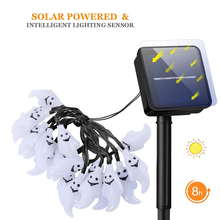Cute Ghost Solar Led Light String 6M 30leds Outdoor Waterproof RGB Light Christmas Halloween Party Holiday Decoration Lighting