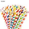 Бумажные биоразлагаемые трубочки  цветные полосатые соломинки для соков  гладкие  коктейли  рождественские  вечерние  многоцветные бумажны...