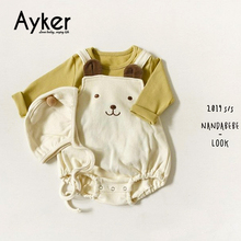 Baby Bodysuits Twins Clothing Newborn Onesie Autumn Winter Cute Bear Body Girl Clothes Boy with Hat