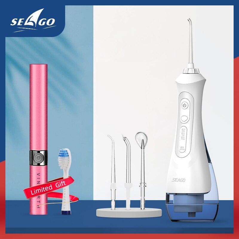 Seago usb recarregável água flosser irrigador oral dental 3 modos 200ml jato de água do tanque água ipx7 à prova dwaterproof água