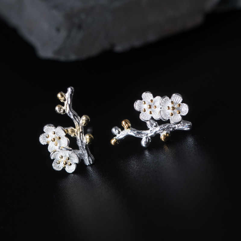 Real Pure 925 Sterling Silver Stud Earrings for Women Plum Blossom Flower Small Earring Gifts for Girls Trendy Womens Jewellery