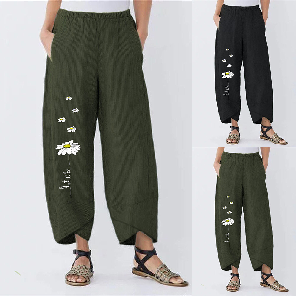 Summer New Women's Pants Trousers Small Daisies Wide Leg Loose Pant Wide Leg Pants Loose Flower Print Trousers Ladies Pants