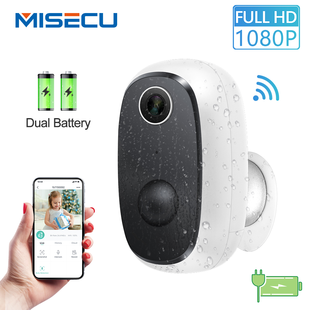 MISECU 1080P WiFi Camera Rechargeable Battery Powered Wireless Security IP Camera PIR Motion Detect Waterproof Outdoor App View