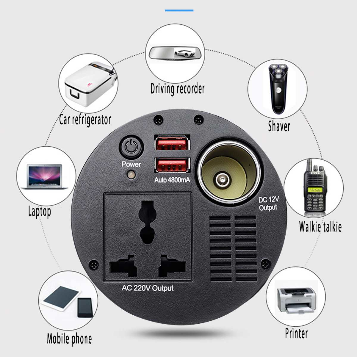 Auto Inverter 150W Tasse-förmigen DC 12V zu 220V Protable Spannung transformator Power Inverter Konverter Adapter sinus Welle 2 USB