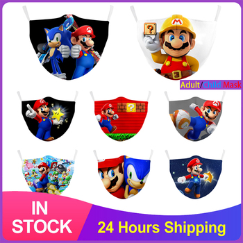 Children Face Masks Super Mario Cartoon Print Mask Reusable Washable Fabric Mask Dust-proof Filter Protective Mouth Mask Cover image
