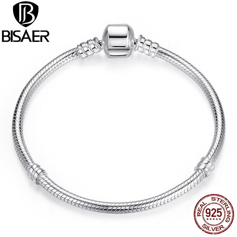 Authentic 100% 925 Sterling Silver Basic Snake Chain Bracelet & Bangles Fashion Jewelry WEUS902(China)