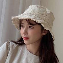 Feminino branco oco parágrafo fóruns fazer laço pescadores chapéu nova cúpula maré redonda temperamento moda tudo-match primavera outono