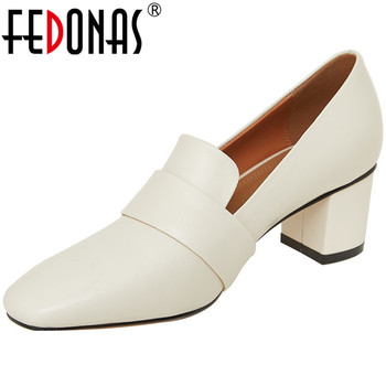 FEDONAS Women Cow Leather Wedding Thick Pumps Prom Office Lady Spring Summer Shallow Round Toe Concise Quality Sexy Shoes Woman