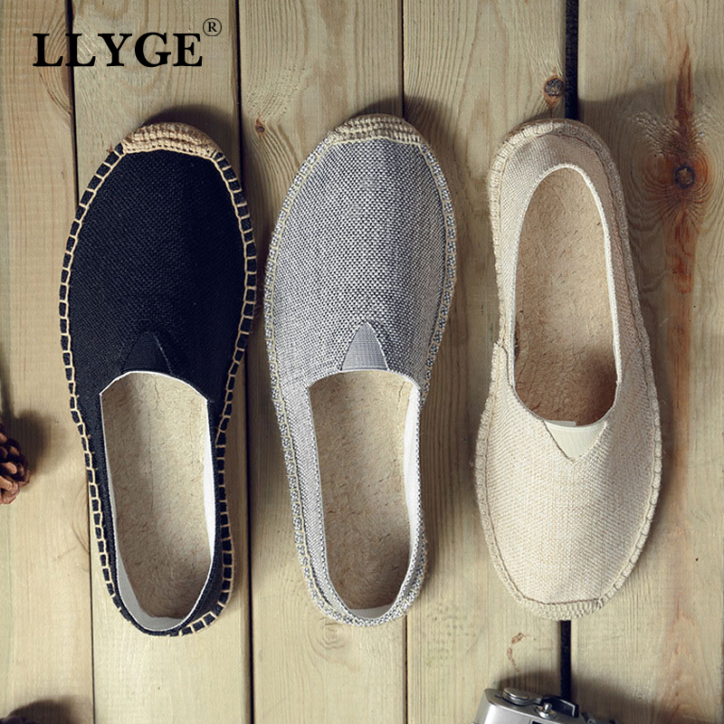 New Women Sewing Flax Shoes Embroider Slip on Loafers Casual Shoes Woman Espadrilles Hemp Canvas Flat Retro Shoes Plus Size