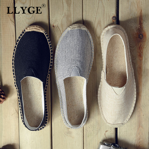 Women Sewing Flat Shoes Embroider Slip on Loafers Casual Woman Espadrilles Hemp Canvas Retro Tamanho Grande New