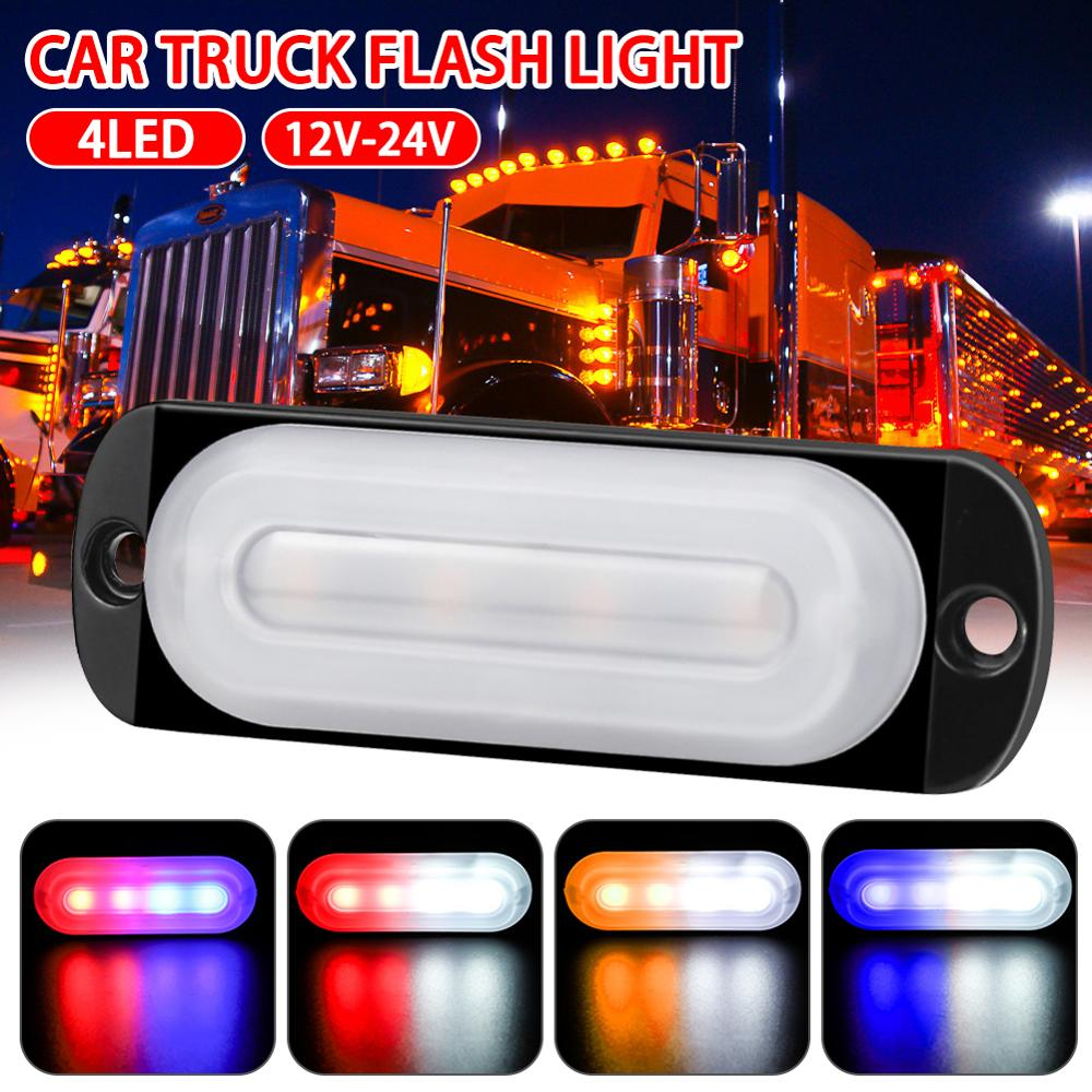 DC12-24V 12W 4LED Car Truck Motorcycle Emergency Beacon Warning Hazard Flash Strobe Underbody Turn Light Bar Amber