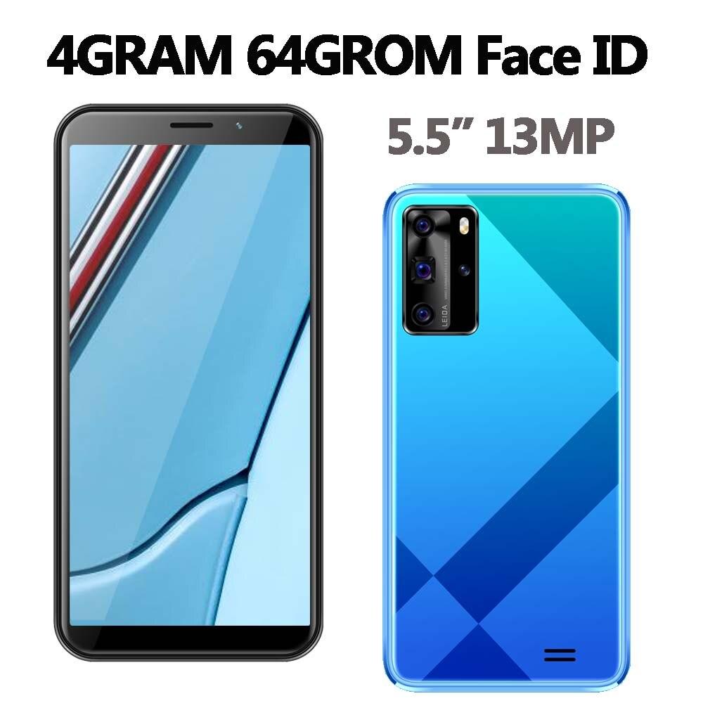 Разблокированный смартфон с функцией распознавания лица, 4 Гб ОЗУ, 64 Гб ПЗУ, 5i, 5,5 дюйма, HD-камера 5 Мп + 13 МП, мобильные телефоны на базе Android, нед...