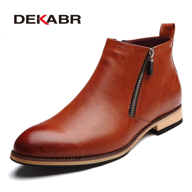 DEKABR 2020 Men Boots Comfortable Black Winter Warm Waterproof Fashion Ankle Boots Casual Men Pu Leather Snow Boots Winter Shoes