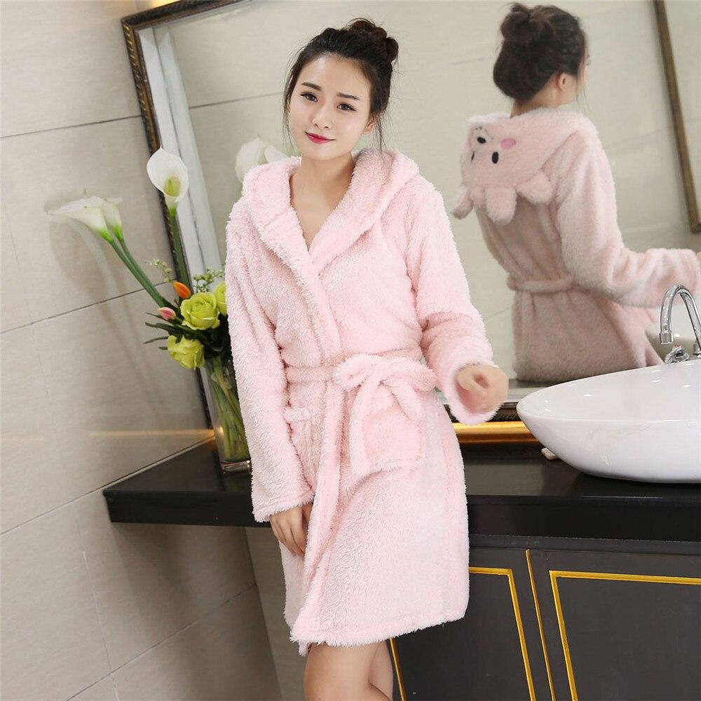 Flannel Cute Robe Sleepwear Kimono Gown Women Night Wear Coral Fleece Hooded Nightdress Bathrobe Home Dressing Nightwear