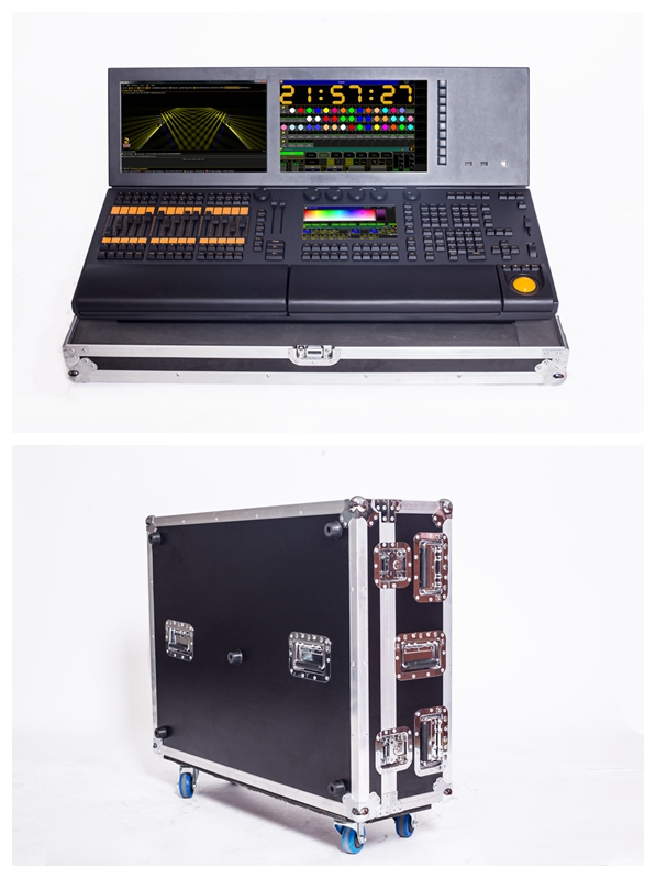 Lighting Console Professional Dmx 512 Controller Two Screen With Flight Case
