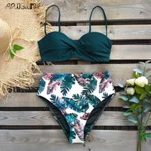 2020 sexy bikini swimsuit women swimwear push up print bikini women high waist leaf swimwear bathing suit