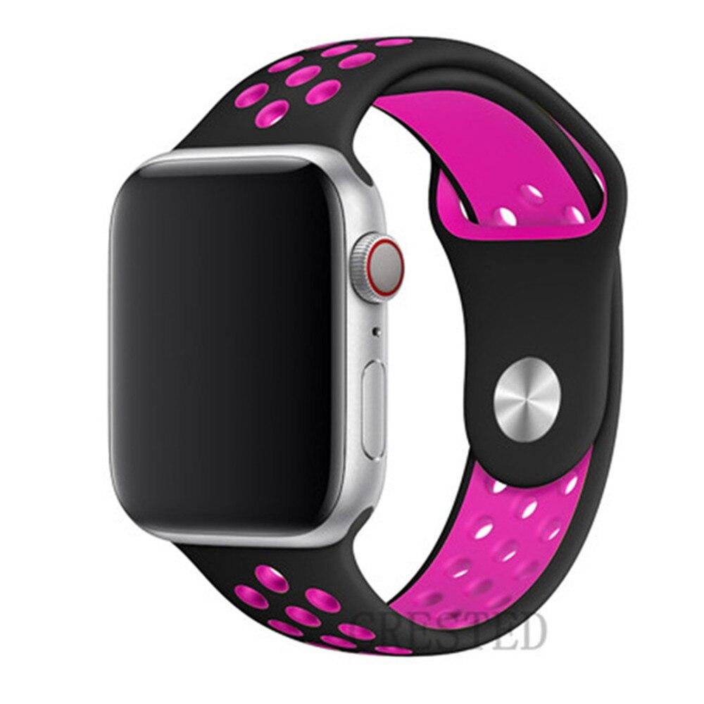 Спортивный ремешок для apple watch band 44 мм/40 мм apple watch 5 4 3 band iwatch band 5 42 мм/38 мм correa браслет ремень аксессуары для часов - Цвет ремешка: black pink 22