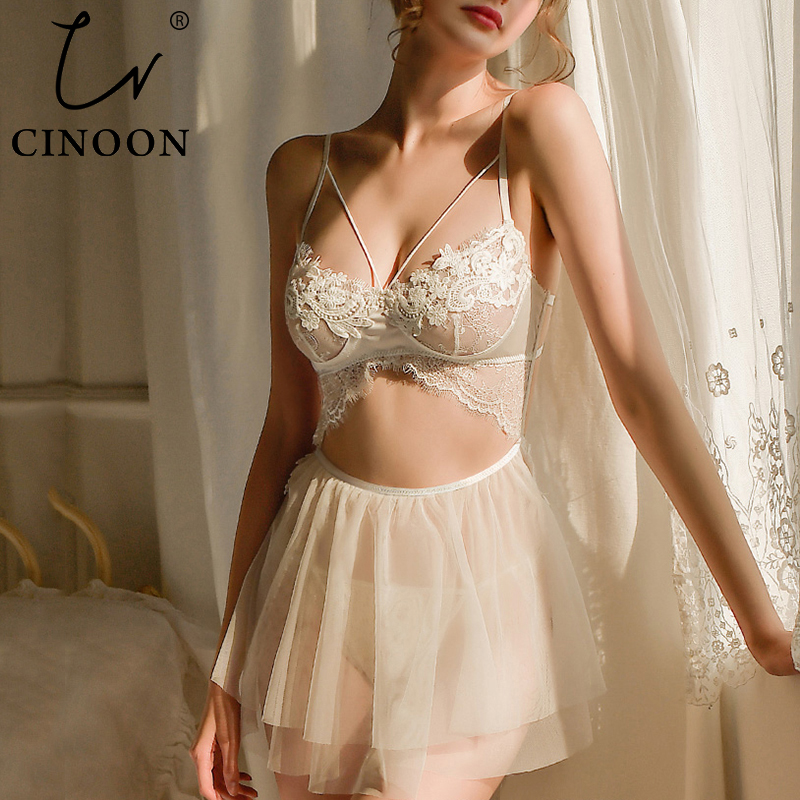 CINOON New Women Sexy Summer Sleepwear Female Backless Sling Nightgowns With Thong V-neck Lace Perspective Mesh Nightdress