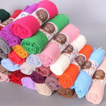 10pcs/lot  Plain Wrinkle Wrap Cotton Viscose Long Shawl Scarf Women Crinkle Hijab Shawl Muslim Head Hijab Scarf wholesale high quality women 100% rayon crinkle scarf cotton wrinkle muslim hijab wraps headband long scarves 18 colors 180 95cm