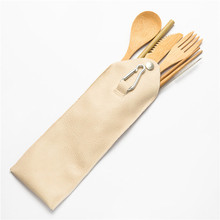 Reusable Bamboo Cutlery Wood Travel Set with Pouch Camping Leather Bag Zero Waste Fork Spoon Knife Flatware Utensils
