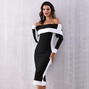 Image 4 - Seamyla New Long Sleeve Bodycon Bandage Dresses Women Vestidos 2019 Runway Party Dress Midi Celebrity Sexy Clubwear Dress Slim