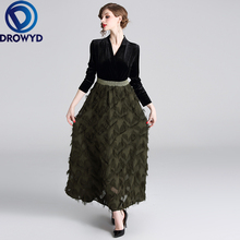 Fashion Elegant Velvet Maxi Dress for Women Autumn and Winter Casual Army Green Vintage Tassel Decoration Club Party