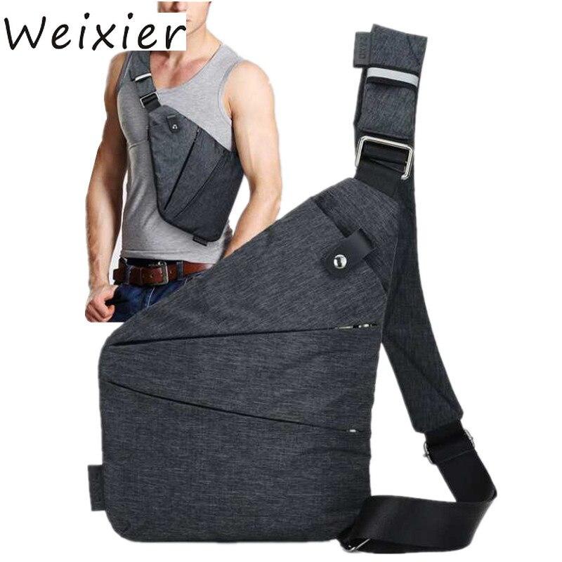 WEIXIER Men Travel Business Fino Bag Burglarproof Shoulder Bag Holster Anti Theft Security Strap Digital Storage Chest Bag V2-24