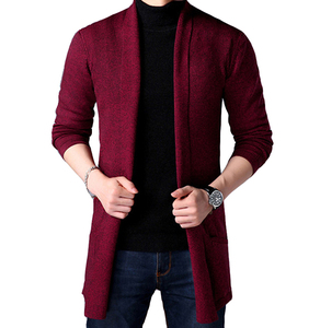 2019 Spring New Men's Sweater Solid Color Bottoming Shirt Korean Long-sleeved Shirt Men's Slim Long Cardigan Sweater Knitted