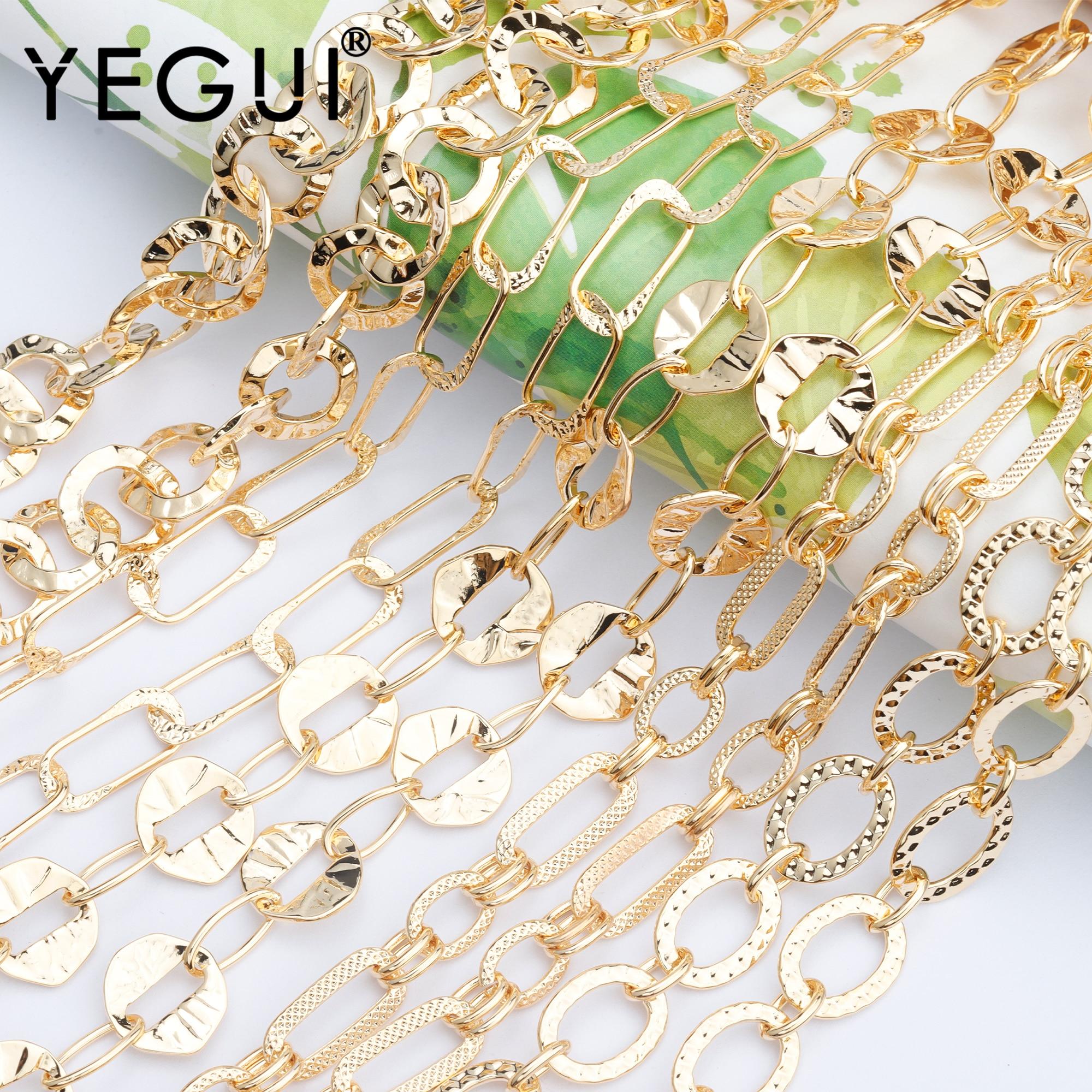 Yegui c93, acessórios de jóias, 18k banhado a ouro, 0.3 mícrons, corrente diy, feito à mão, encantos, diy pulseira colar, fazer jóias, 1 m/lote
