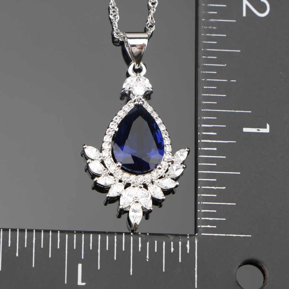 DROP DARK BLUE Cubic Zirconia เงิน 925 เครื่องประดับชุดต่างหู/แหวน/จี้/สร้อยคอ/สร้อยข้อมือฟรีของขวัญกล่อง