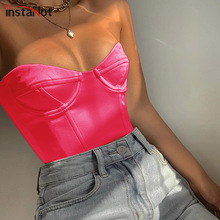 InstaHot Orange Pink Faux Leather Camisole Strapless Vest Sexy Basic Sleeveless Summer Crop Top Women Tank 2019 Fashion