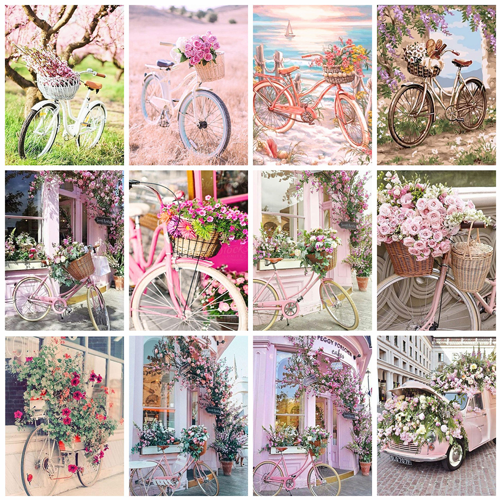 Evershine Diamond Painting Bicycle Full Square Diamond Embroidery Flower Pink Cross Stitch Mosaic Crafts Kit Home Decoration-0