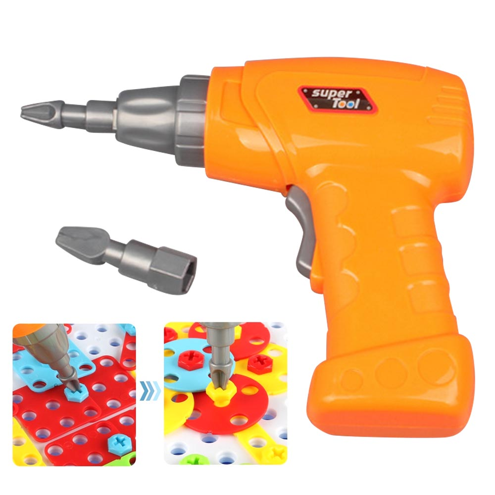 Kid Simulation Electric Drill Maintenance Repair Tool Toy with 2pcs Tips for Children Pretend Play Toy Disassembly Building Game
