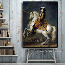 100% Hand painted French king Louis XV with Horse Portrait Oil Painting on Canvas Wall Picture for Living Room Scandinavian Art