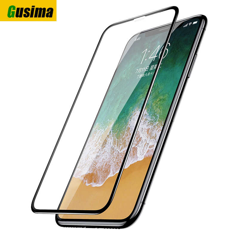 Gusima For iPhone 7 Glass On iPhone 7 6 8 8plus X 10 XS Max XR 9D  Tempered Full Screen Protector Protective Glass On iPhone 7