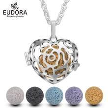 Eudora – Cage en forme de cœur Rose, pendentif diffuseur d'huile essentielle et d'arôme, collier coloré en pierre de lave volcanique, boule ou carillon H164