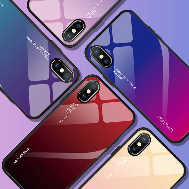 Luxury Gradient Tempered Glass Case For iphone 6 6S 7 8 Plus For iphone X XS XR XS Max Phone Cases Cover Protective Fundas