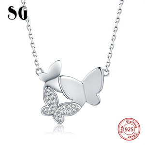 Image 2 - SG chain necklace women jewelry 925 sterling silver 3 butterfly necklaces with cz Fashion Party jewelry 2019 NEW arrive