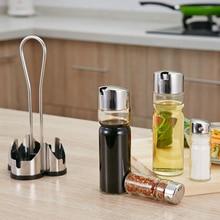 Kitchen Seasoning Bottle Set Condiment Holder Seasoning Rack 4 In 1 Oil Vinegar Dispensers Salt Pepper Shakers Glass Cruet Set