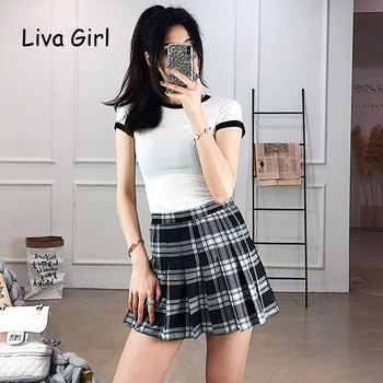 Preppy Style High Waist  Pleated Skirts Women Korean A-Line Short Skirts Uniforms School Kawaii Tartan Plaid Skirt Saias  2