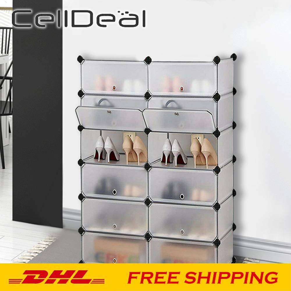 DIY Stackable Thick Transparent Shoe Box Folding Sneakers Storage Box Dust Waterproof Plastic Shoe Cabinet Shoe Organizer