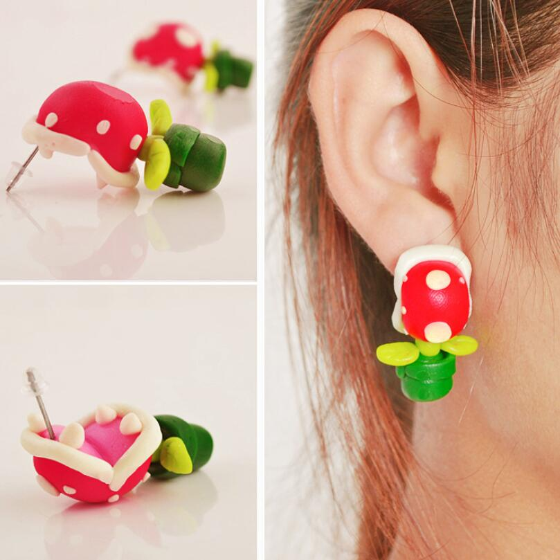 Hot New Game Anime Super Mario Ear Stud Cosplay Costumes Accessories Corpse Flower Handwork Polymer Clay 3D Earrings Fancy Gift