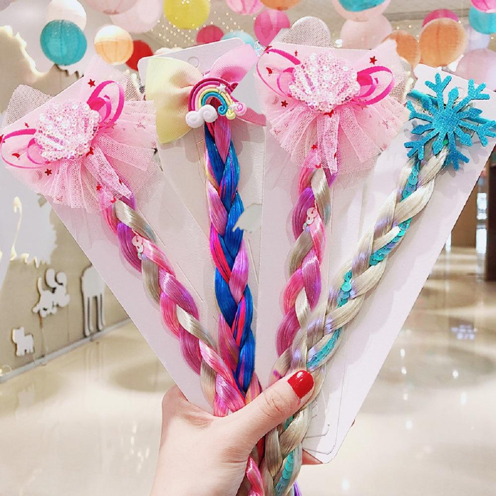 Fashion Style Children Colorful Twist Hairbands For Girls Mermaid Bowknot Scrunchie Hair Tie Kids Long Braid Pigtails Headband